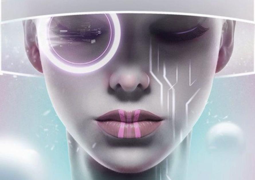 Gezicht van meisje uit de toekomst met toekomstige lens voor haar oog